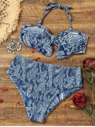 Knotted Paisley Smocked Bikini Set -