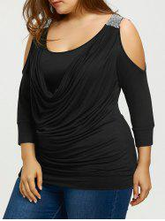 Sequins Cold Shoulder Plus Size Draped Front T-shirt -