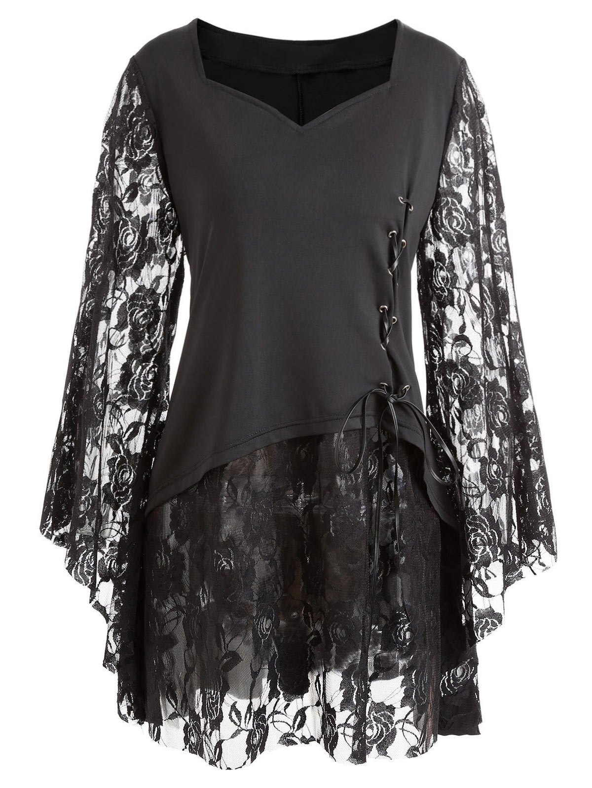 Chic Gothic Plus Size Bell Sleeve Layered Lace Up Top