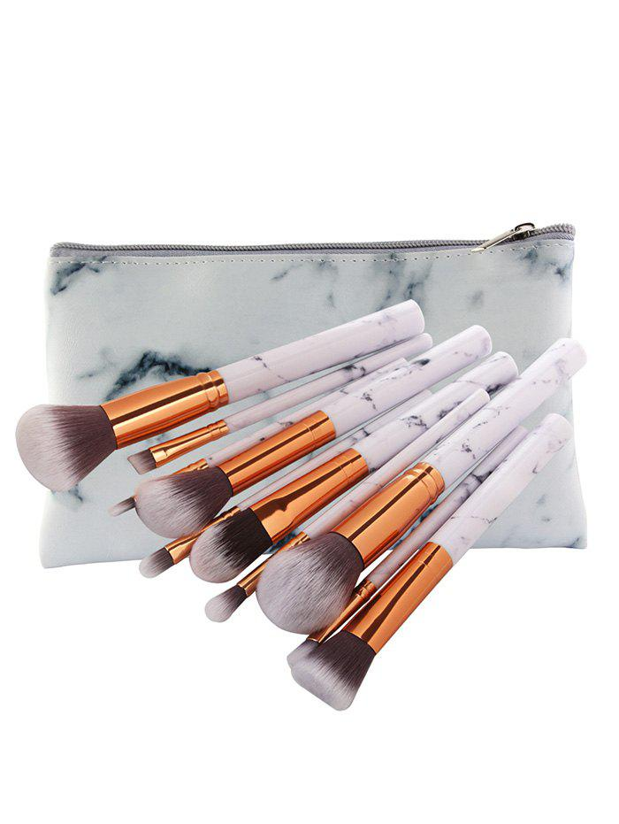 Discount 10Pcs Ultra Soft Synthetic Fiber Hair Makeup Brush Set with Bag