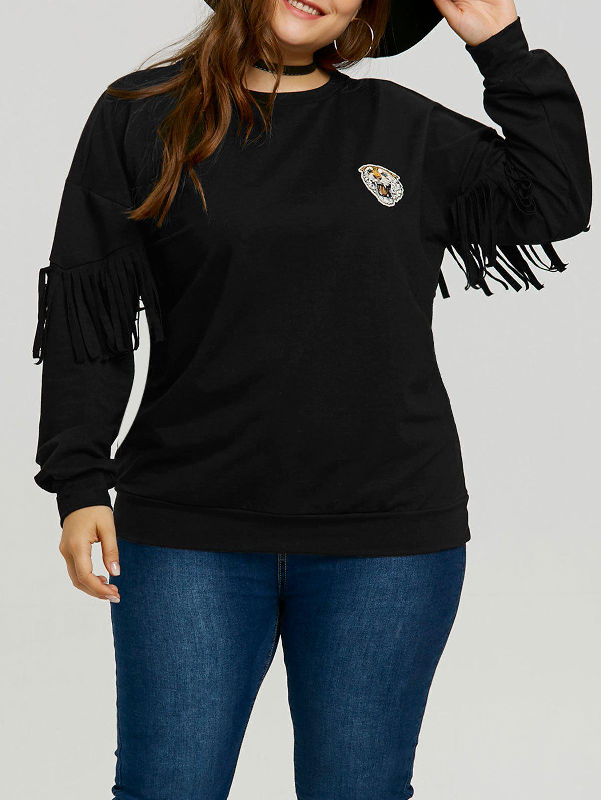 Trendy Plus Size Sleeve Fringe Tiger Patch Sweatshirt