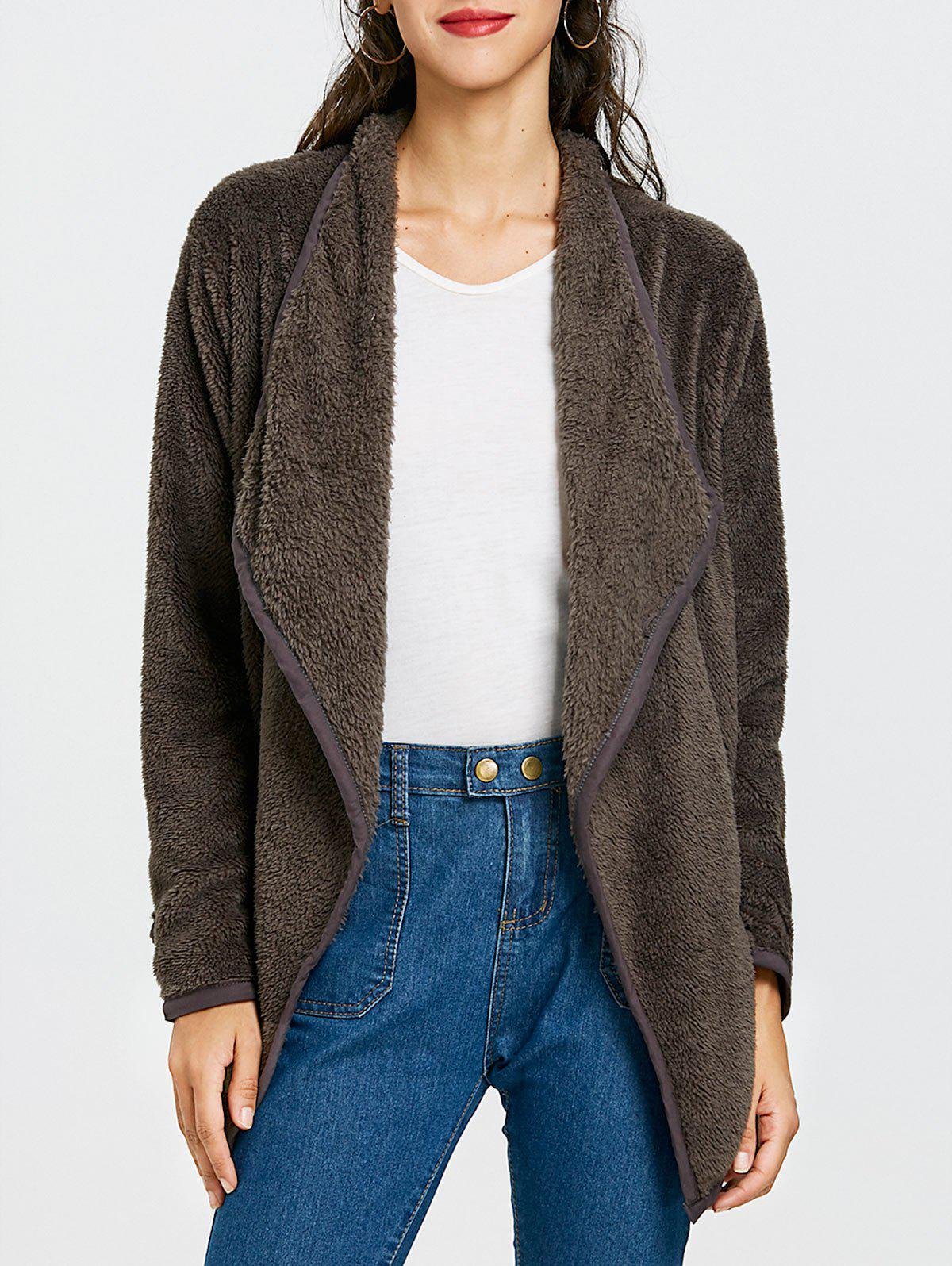 Cheap Furry Drape Front Jacket