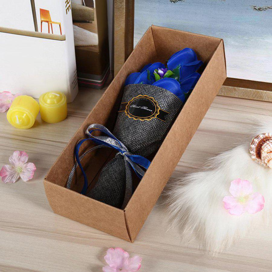 Buy 5pcs Roses Artificial Flower Bouquet Handmade Soap Valentine Day