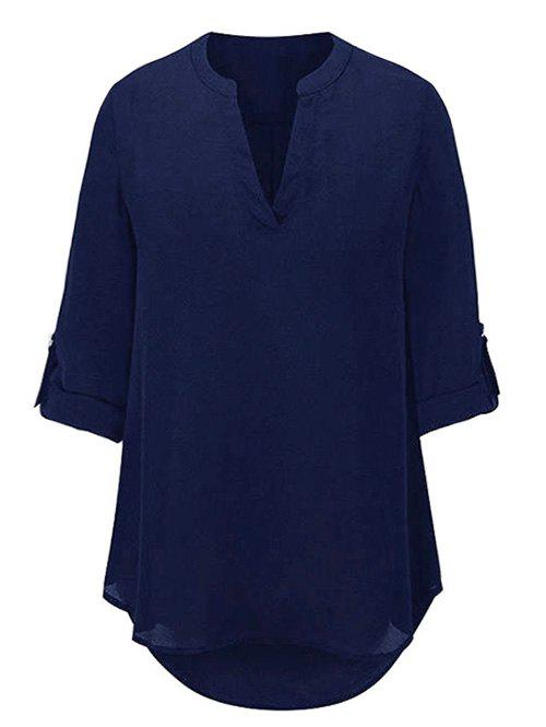 Buy V Neck High Low Chiffon Shirt