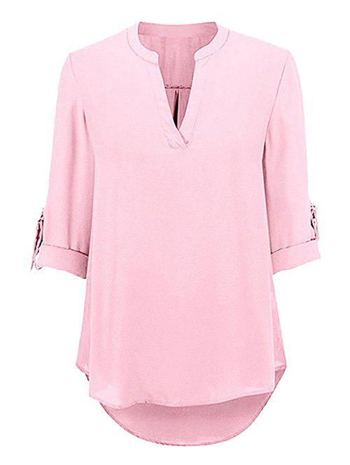 Store V Neck High Low Chiffon Shirt