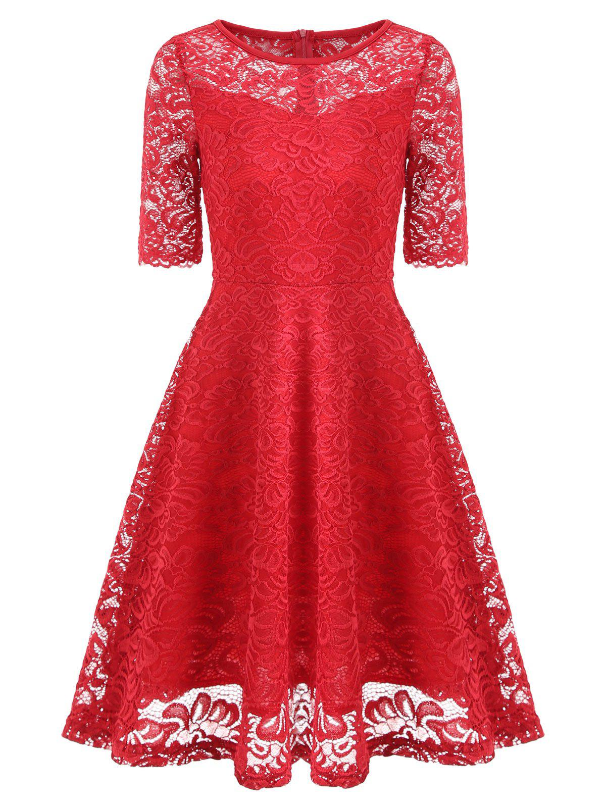 Unique Vintage Lace Fit and Flare Dress