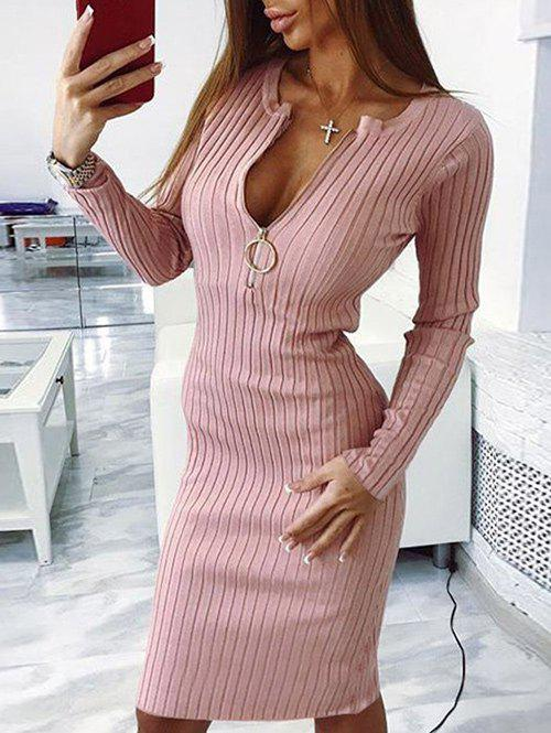 New Ribbed Zipper Embellished Bodycon Sweater Dress