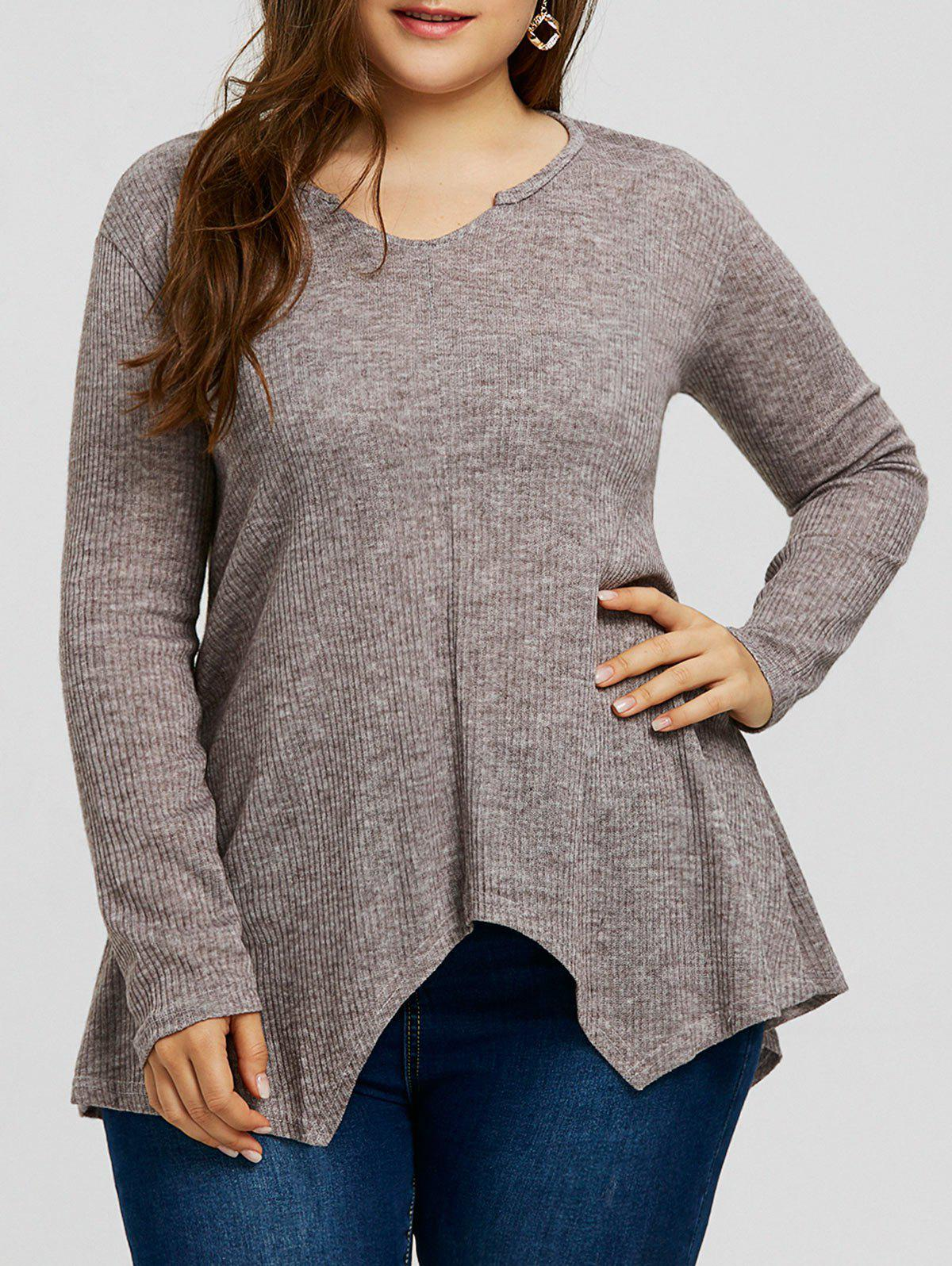 Chic Ribbed Handkerchief Plus Size Sweater