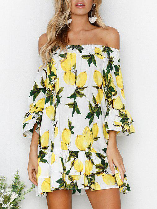 Sale Off The Shoulder Bell Sleeve Layered Printed Dress