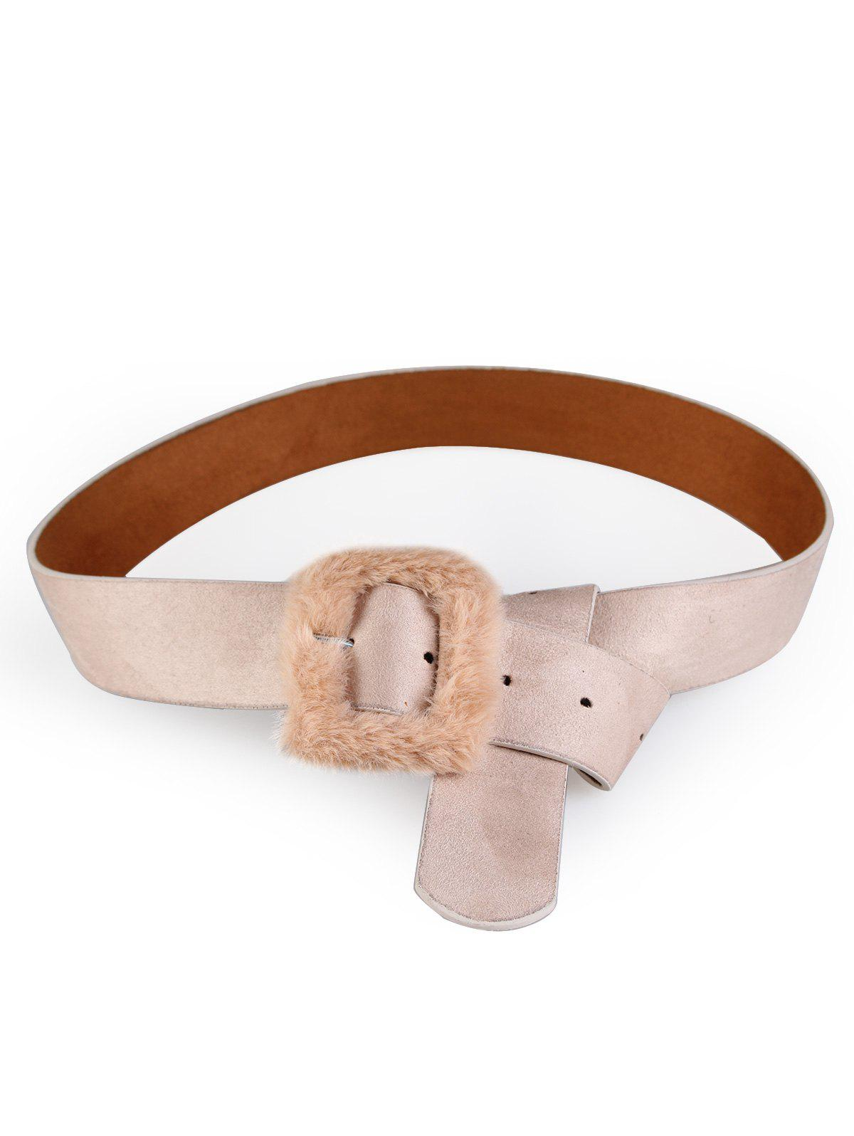 Outfits Vintage Furry Buckle Embellished Faux Leather Waist Belt