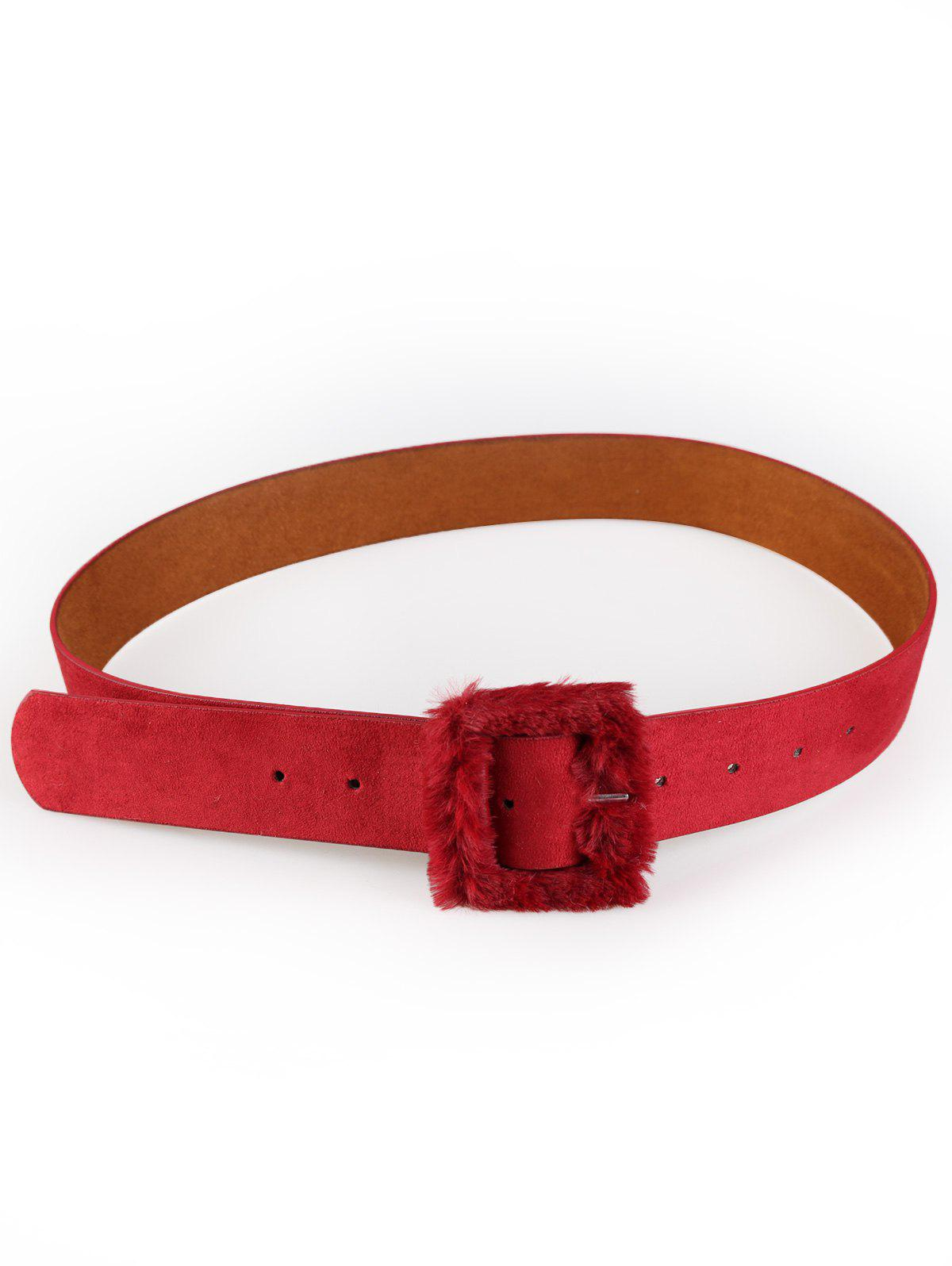 Sale Vintage Furry Buckle Embellished Faux Leather Waist Belt
