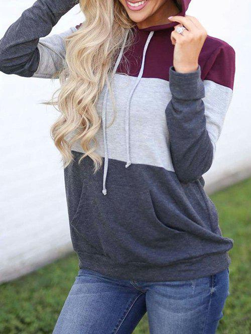 Latest Drawstring Color Lump Pullover Hoodie