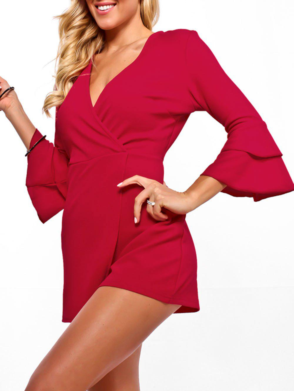 Shops Surplice Neck Flare Sleeve Romper