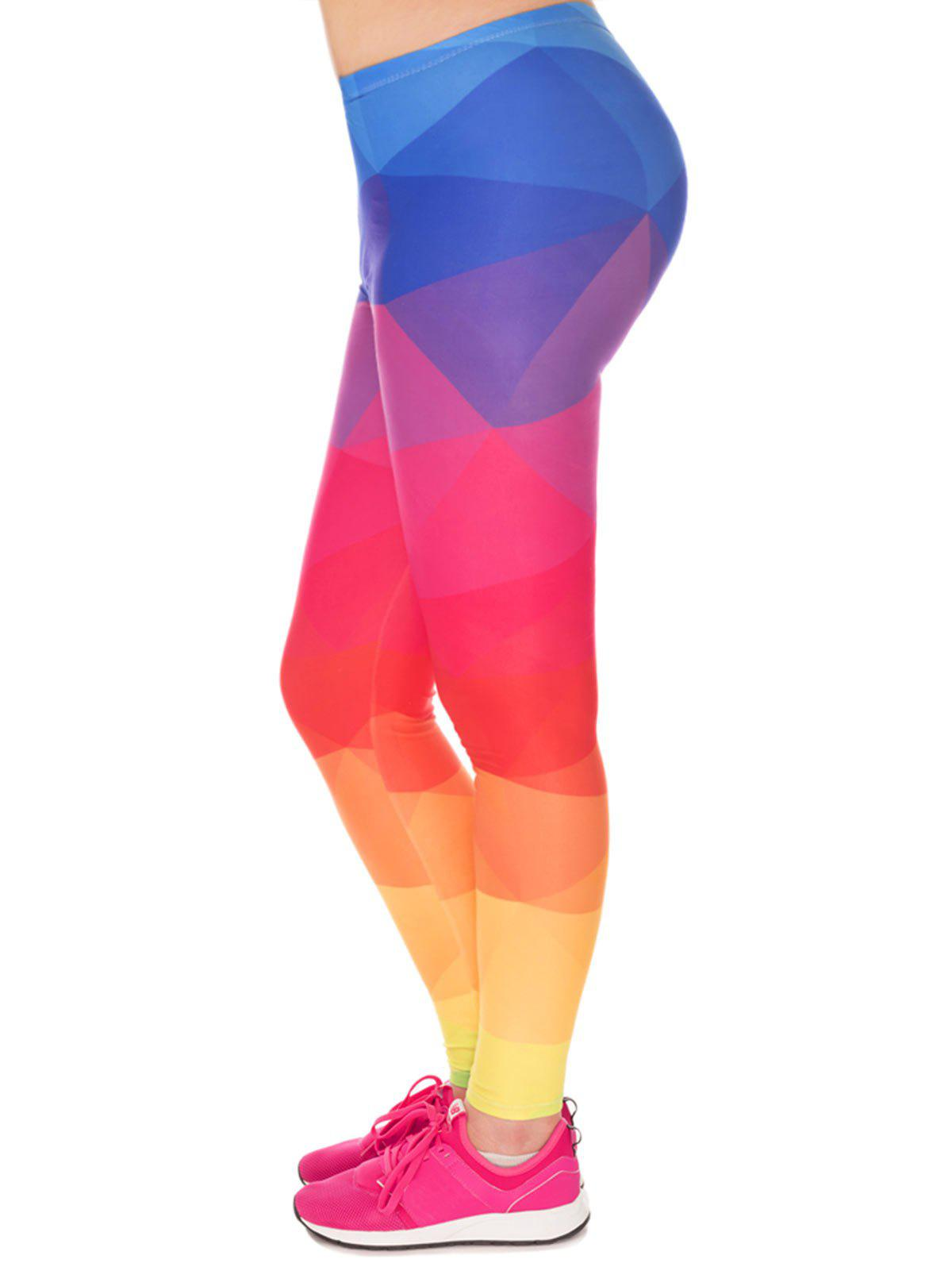 Fashion Color Block High Waist Plus Size Leggings
