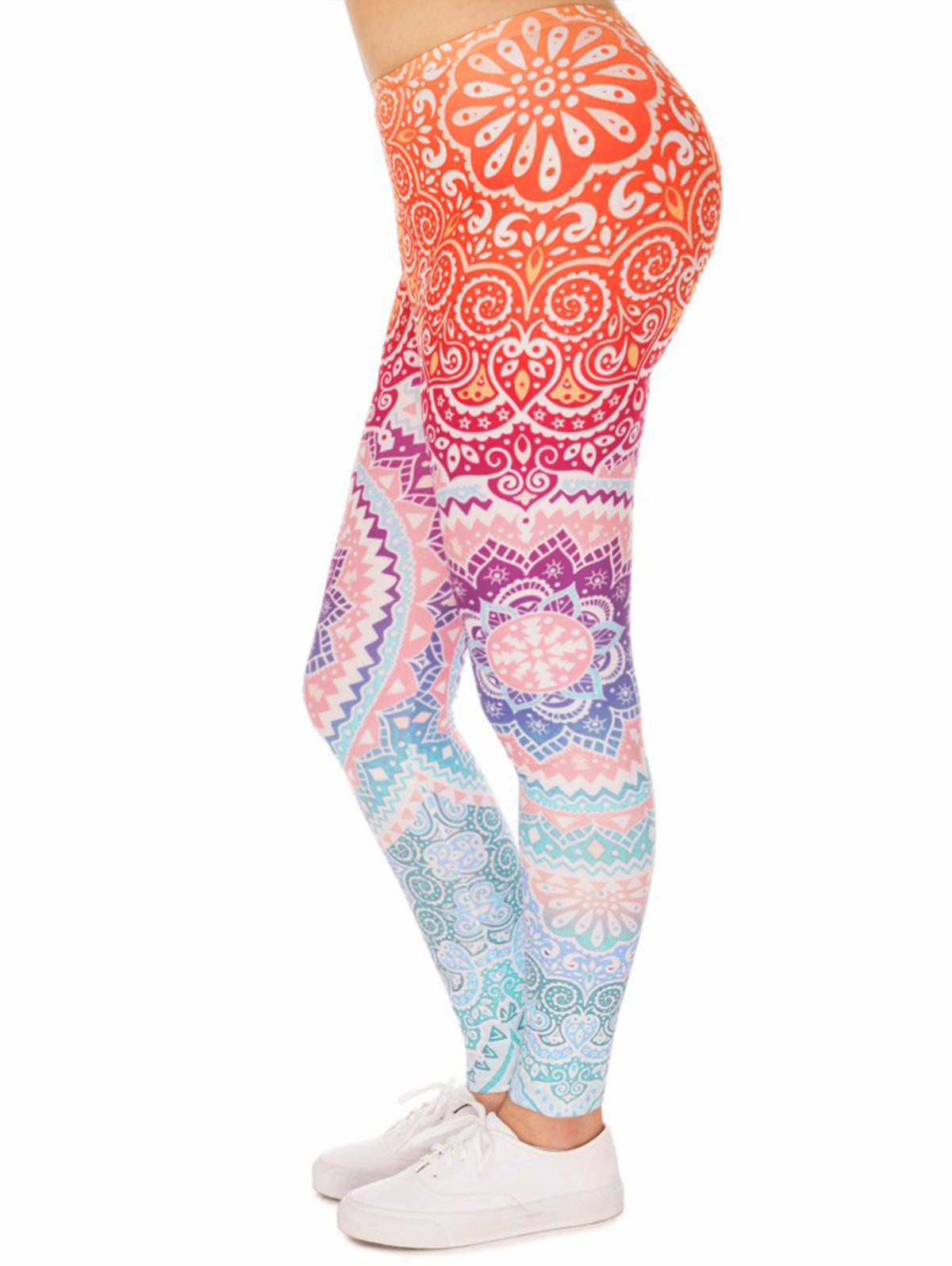 Fashion Bohemian Mandala Print Plus Size Leggings