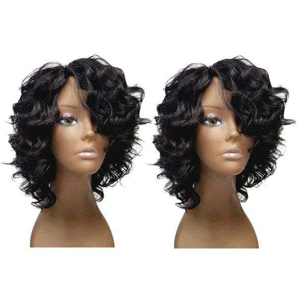 Discount Short Inclined Bang Fluffy Loose Wave Synthetic Wig