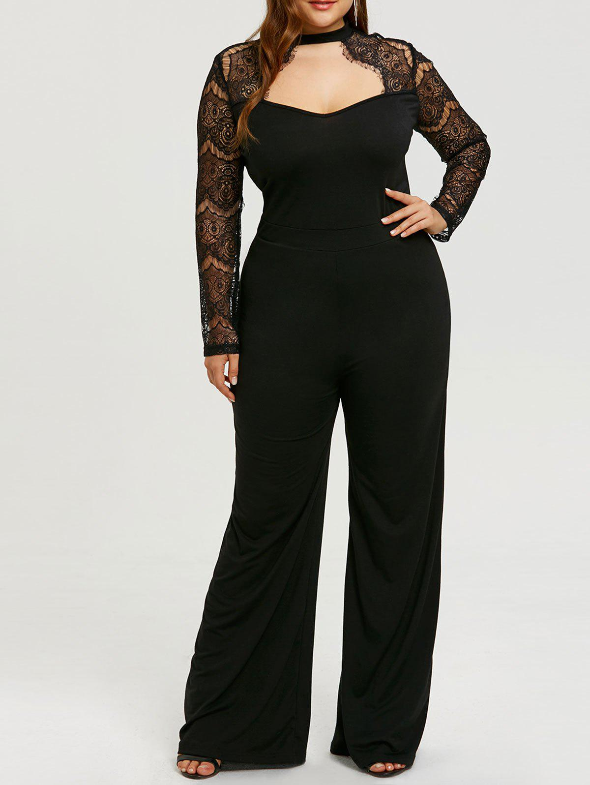 0b0545d5f2b Unique Lace Sleeve Plus Size Cut Out Jumpsuit