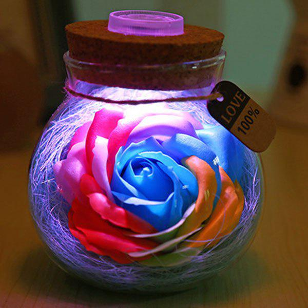 Chic Valentine's Day Gift Wish Soap Rose LED Night Light Bottle