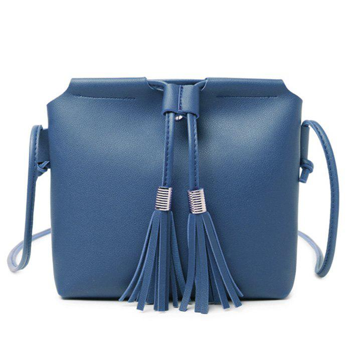 Chic Faux Leather String Tassels Crossbody Bag