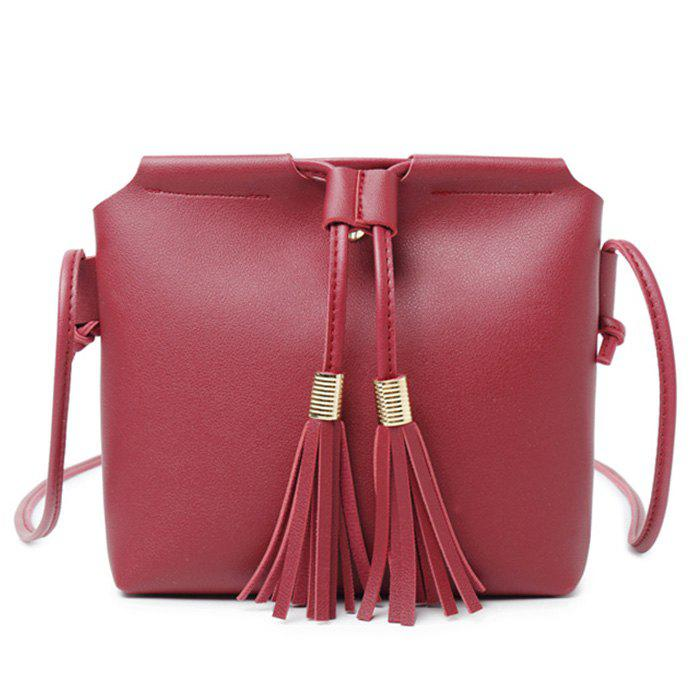 Fancy Faux Leather String Tassels Crossbody Bag