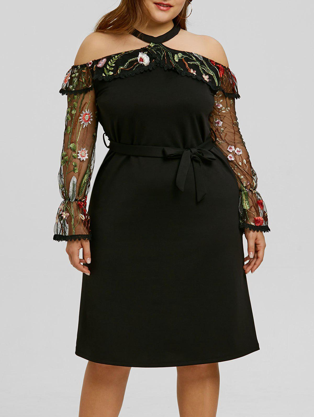 Plus Size Mesh Insert Embroidery Bodycon Dress