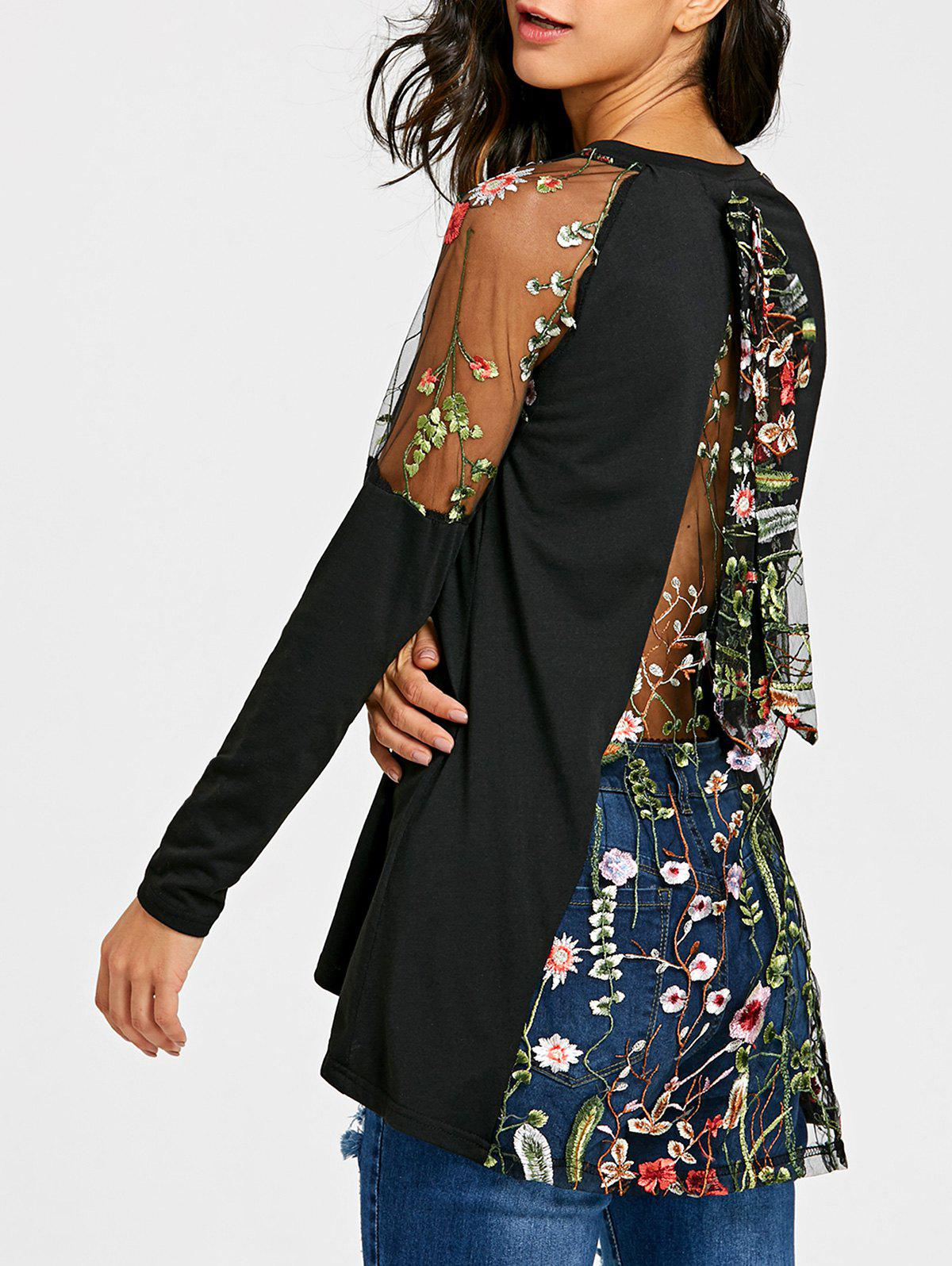 Hot Raglan Sleeve Sheer Embroidery Top