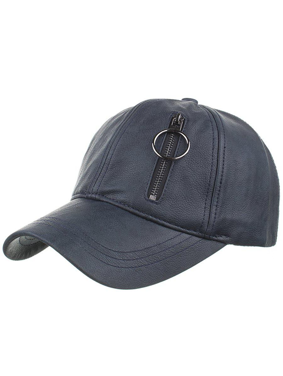 Chic Outdoor PU Leather Zipper Embellished Baseball Hat