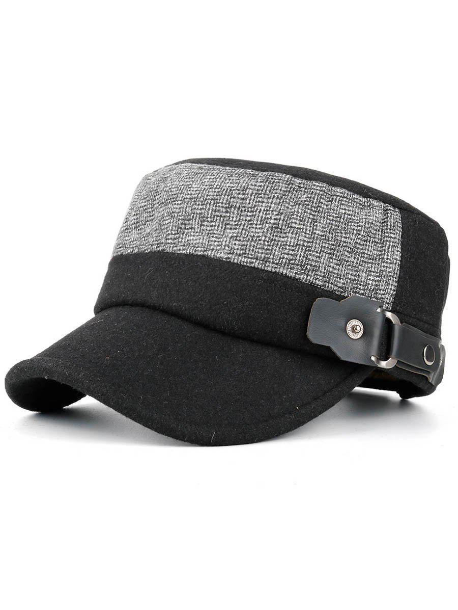 Outfit Simple Flat Top Button Military Hat