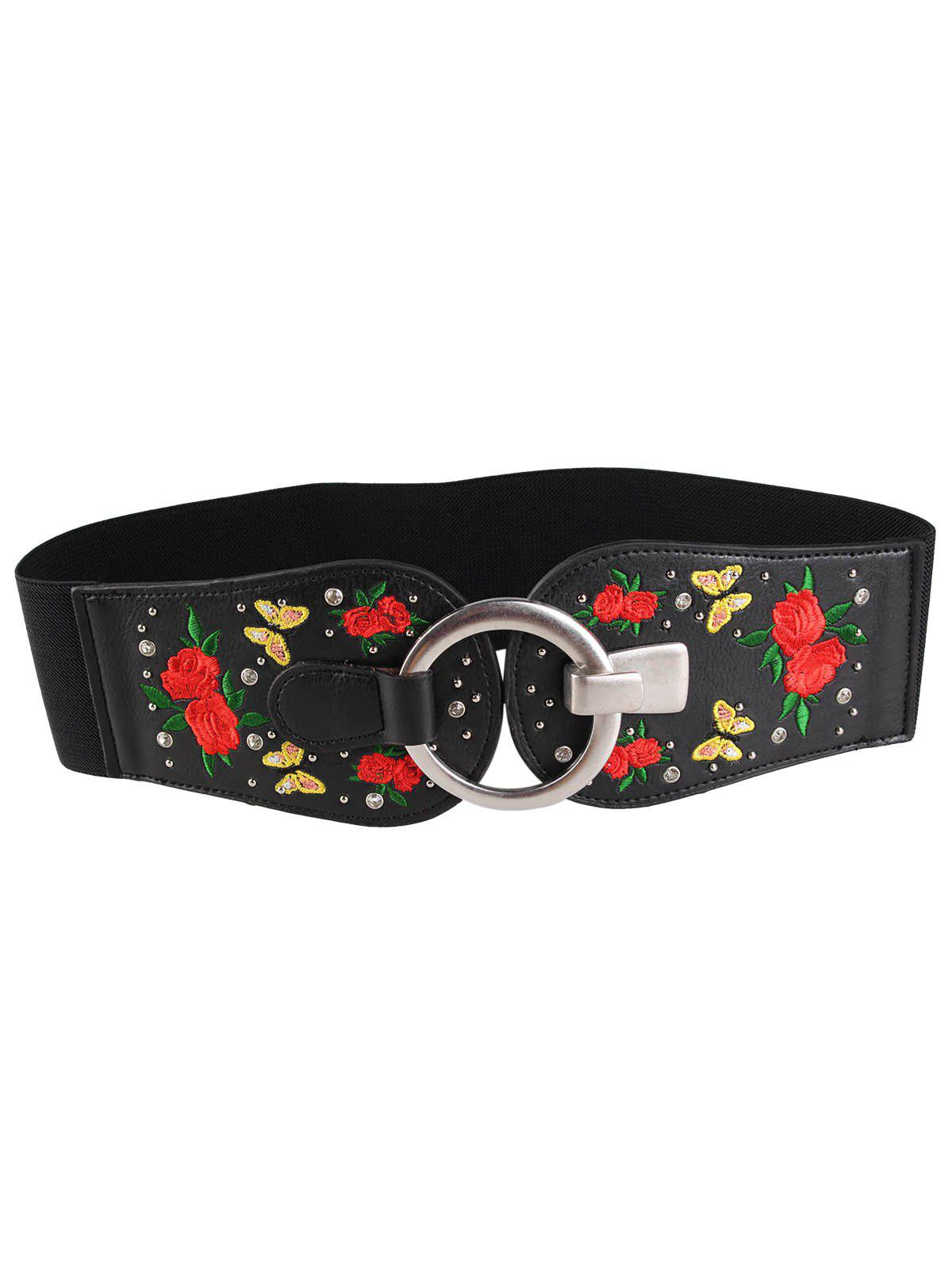 Affordable Vintage Round Buckle Embellished Floral Embroidery Wide Waist Belt