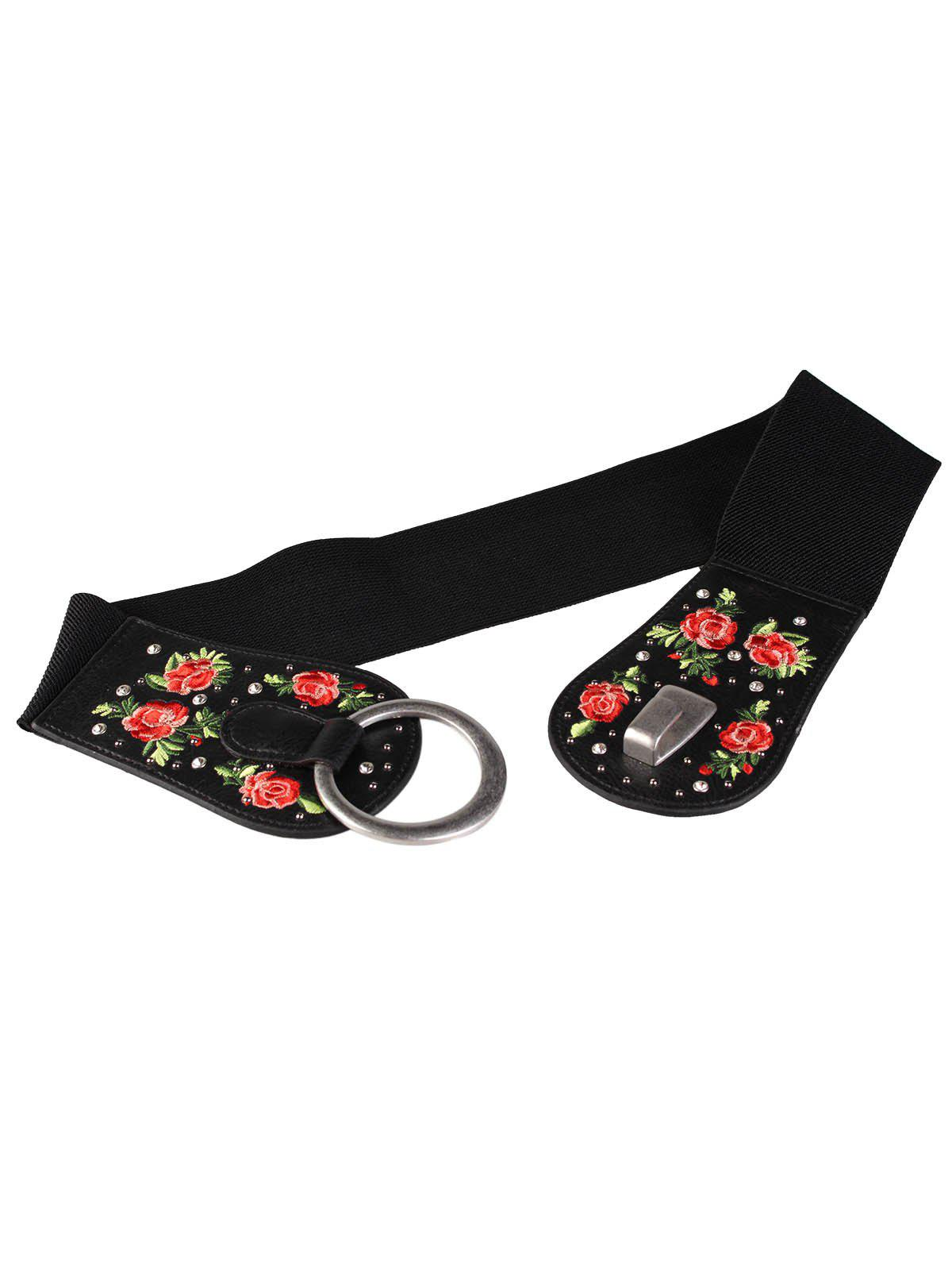 New Vintage Round Buckle Embellished Floral Embroidery Wide Waist Belt