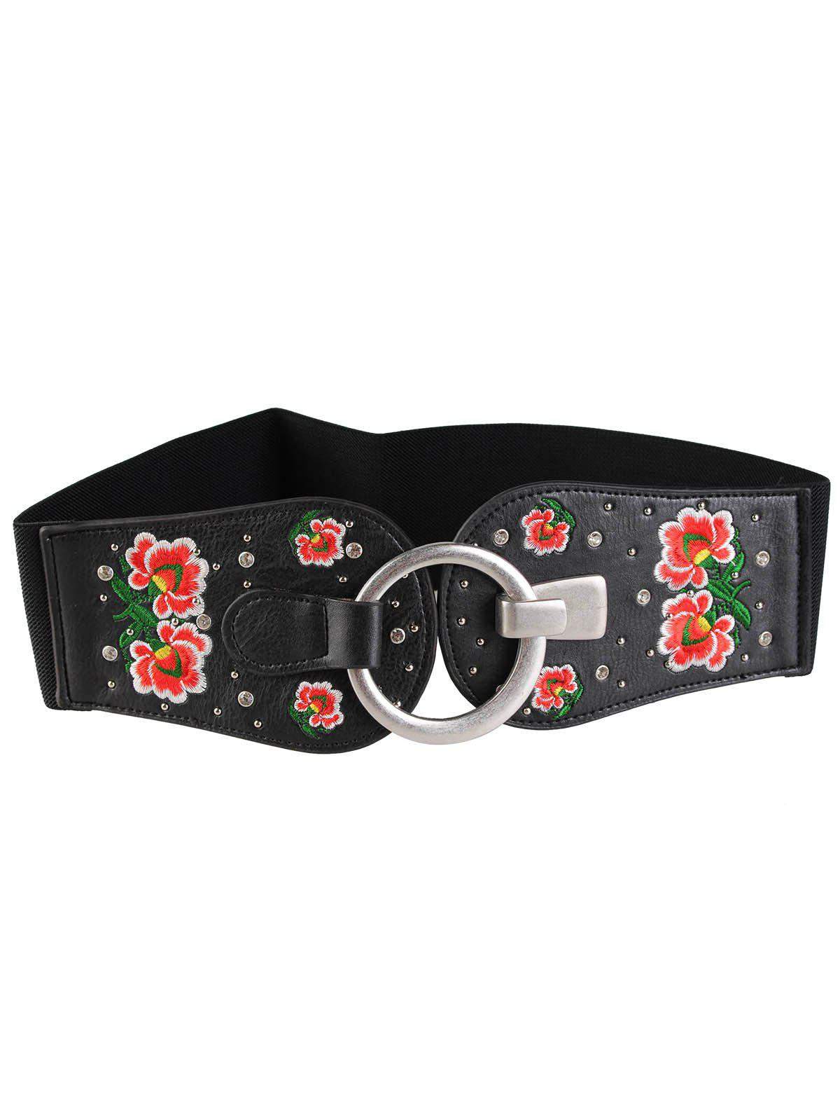 Shops Vintage Round Buckle Embellished Floral Embroidery Wide Waist Belt
