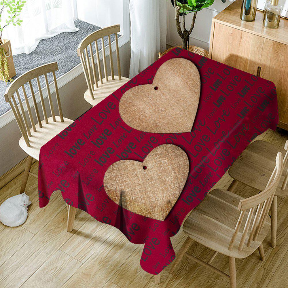 Nappe de Table Imperméable Imprimé Cœurs et Inscription Love