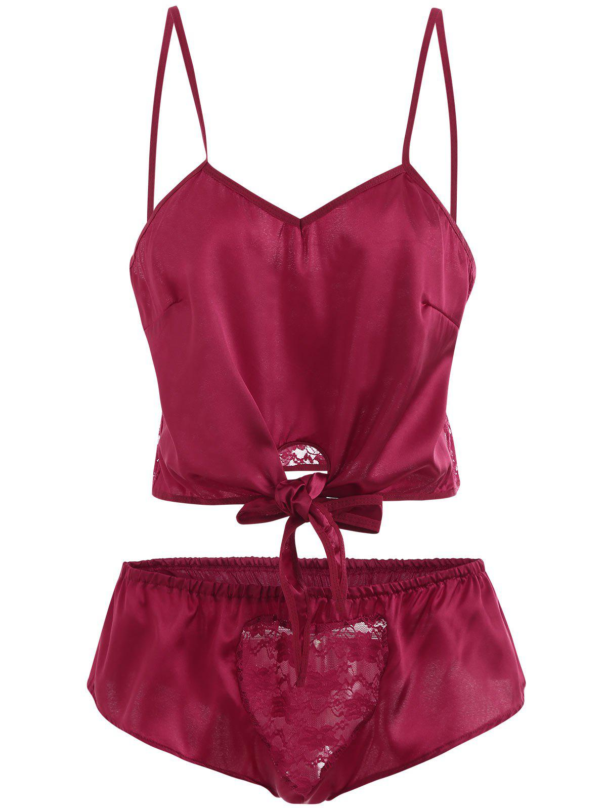 New Front Tied Lace Panel Lingerie Set