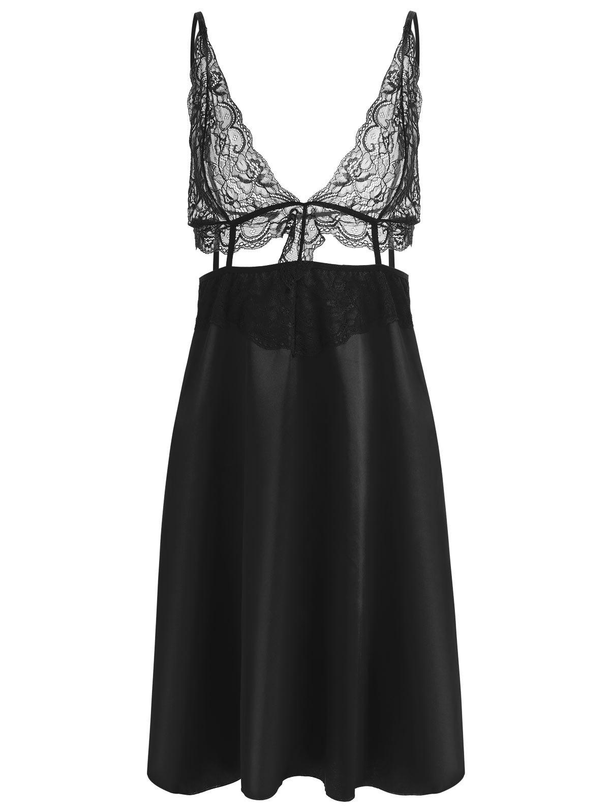 Sale Lace Panel Plunge Front Slip Babydoll