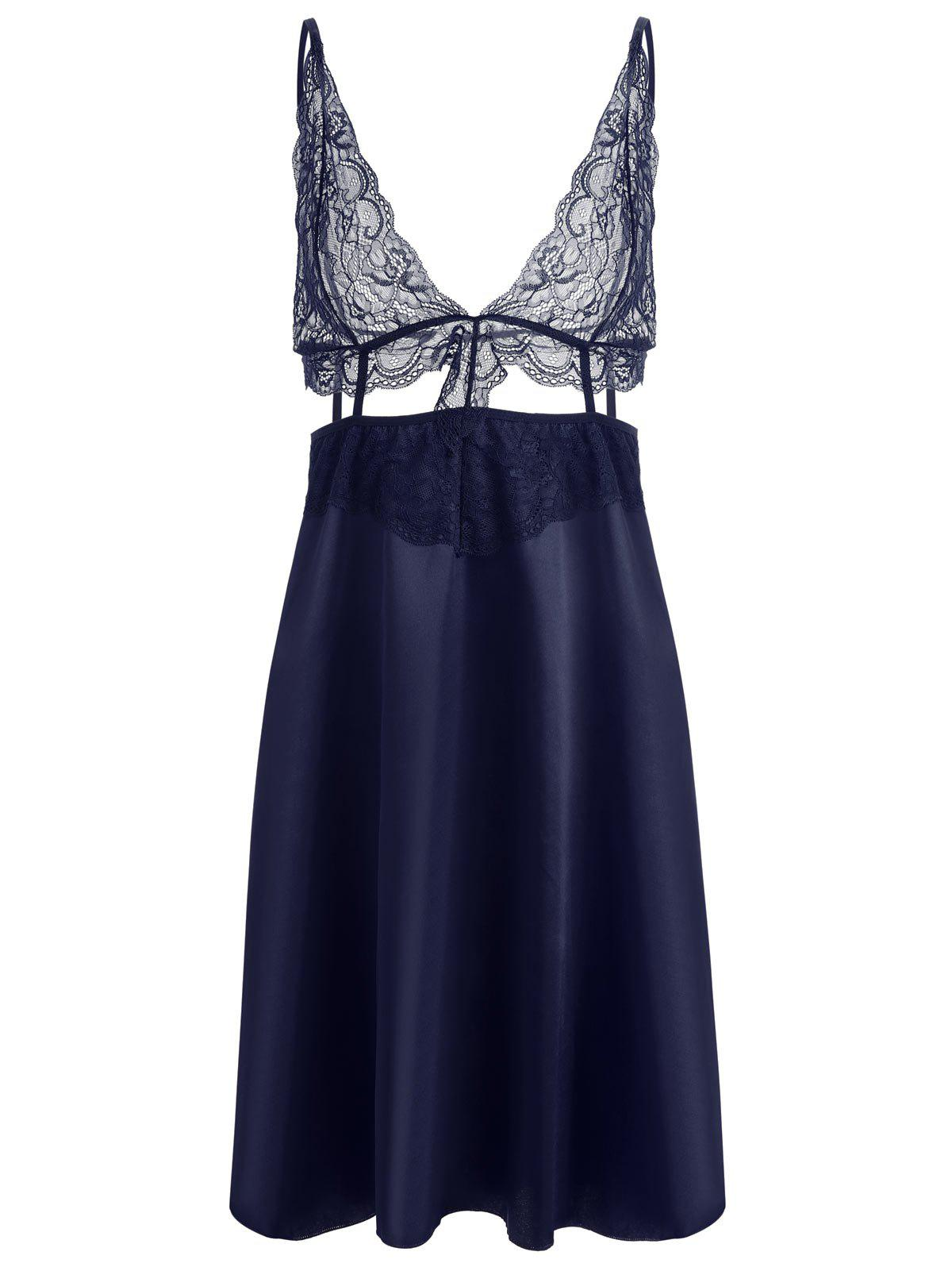 Fashion Lace Panel Plunge Front Slip Babydoll