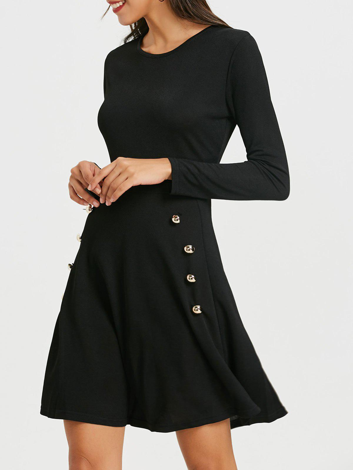 New Long Sleeve Skater Dress with Button