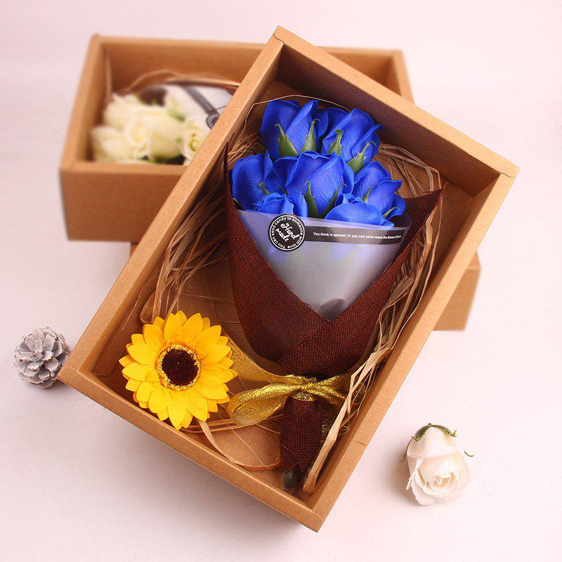 Hot Flower Bouquet 7pcs Scented Soap Roses Gift Box Valentine's Present