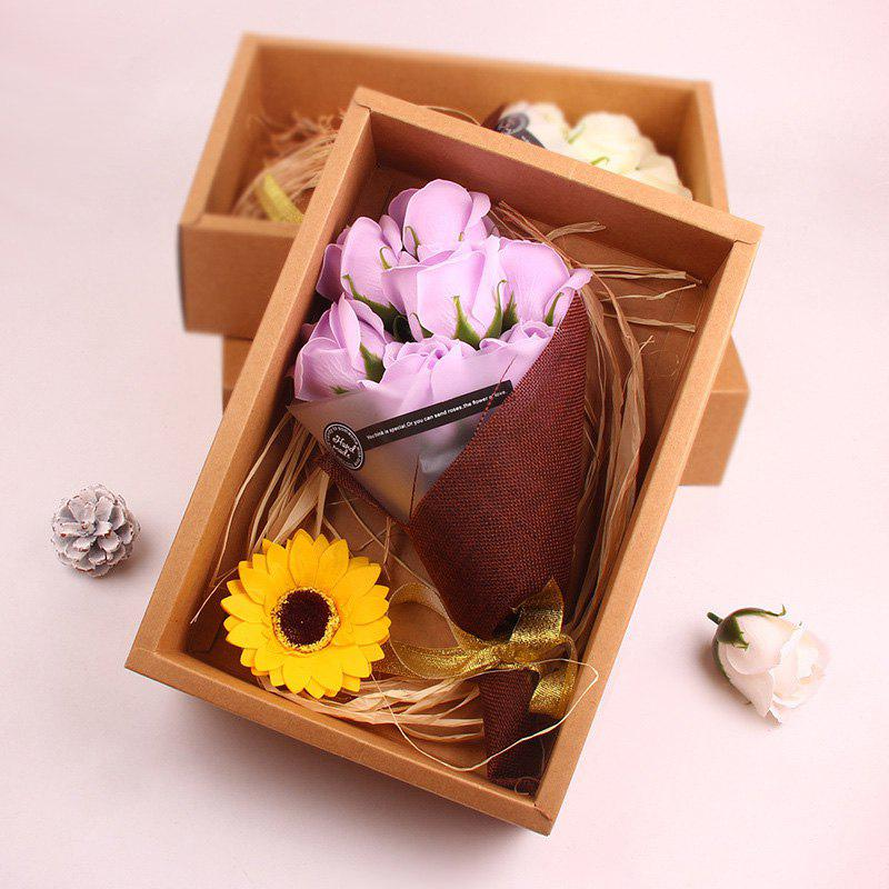 Cheap Flower Bouquet 7pcs Scented Soap Roses Gift Box Valentine's Present