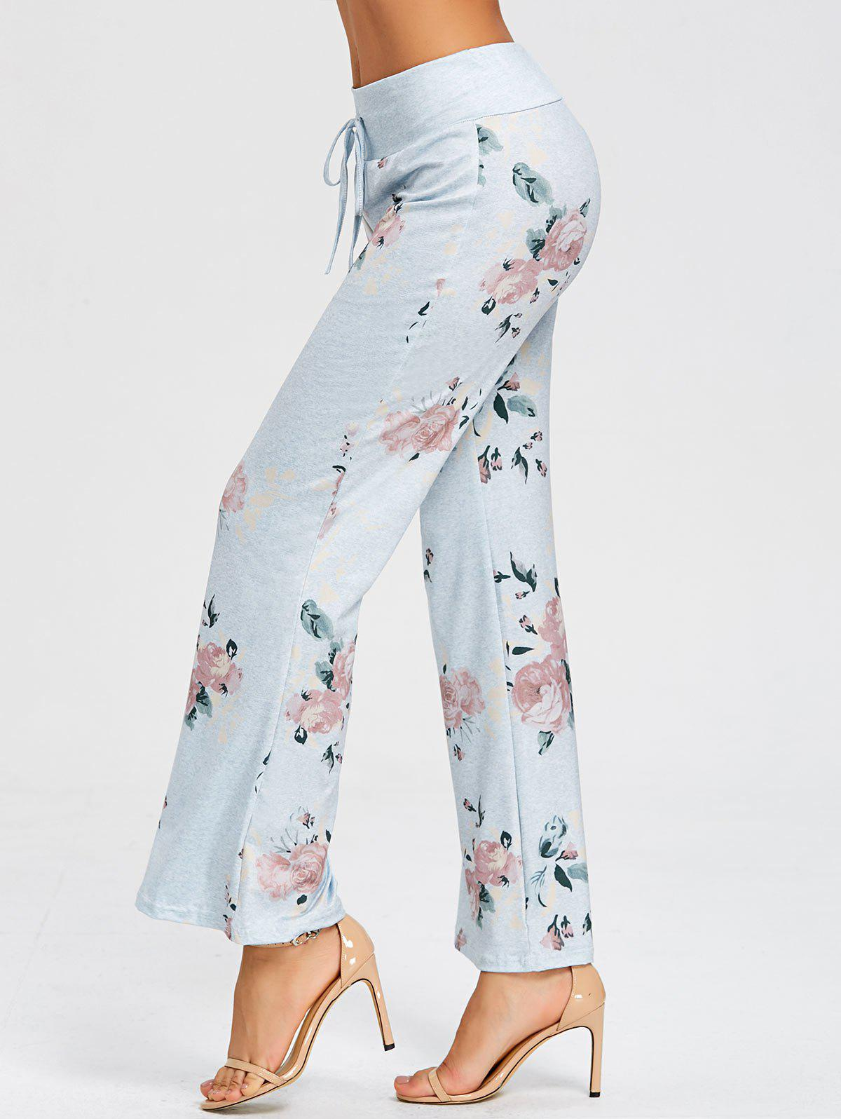 Outfit Flower Pattern Drawstring Pajama Pants