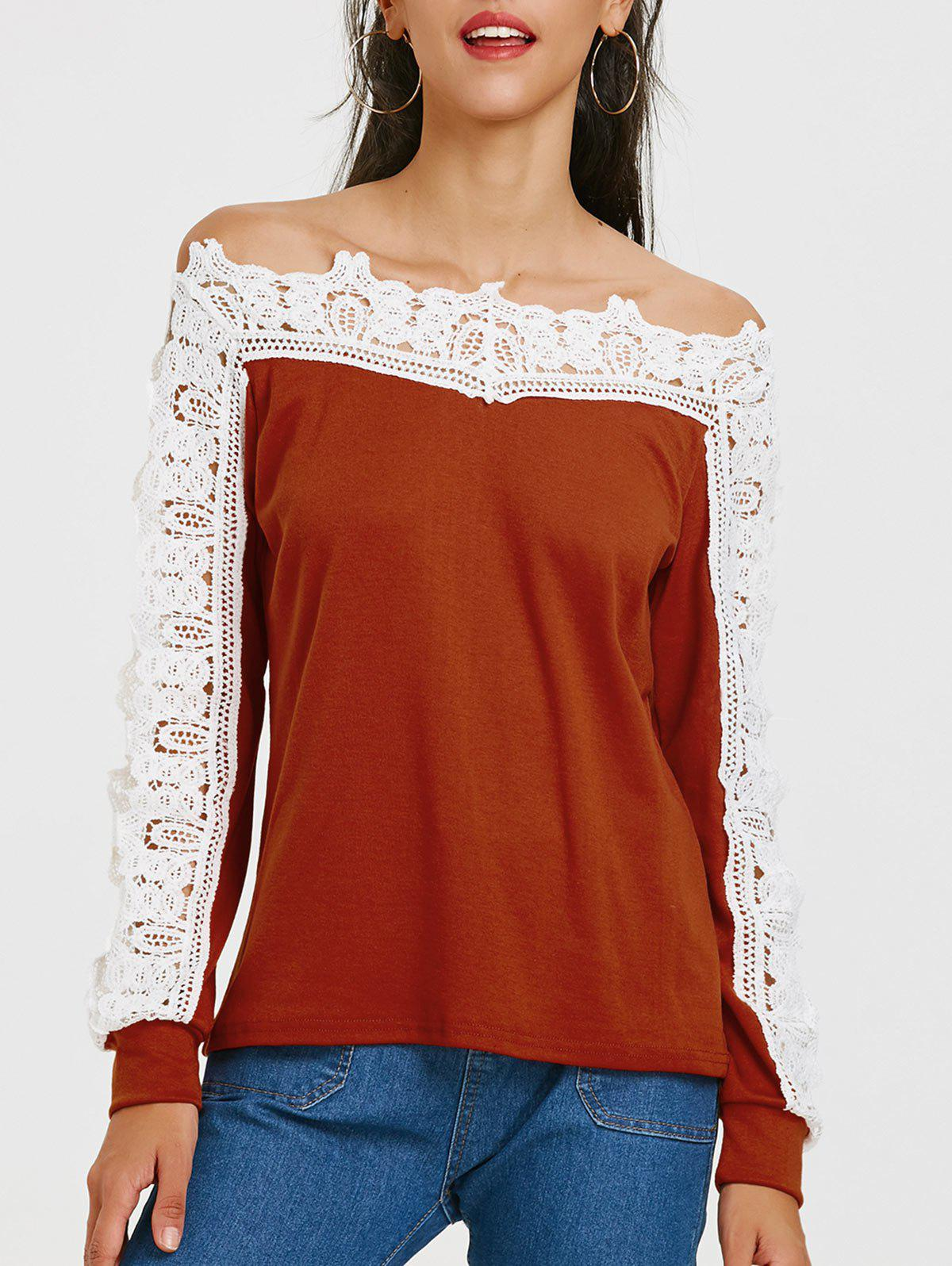 Fashion Openwork Lace Panel Long Sleeve T-shirt