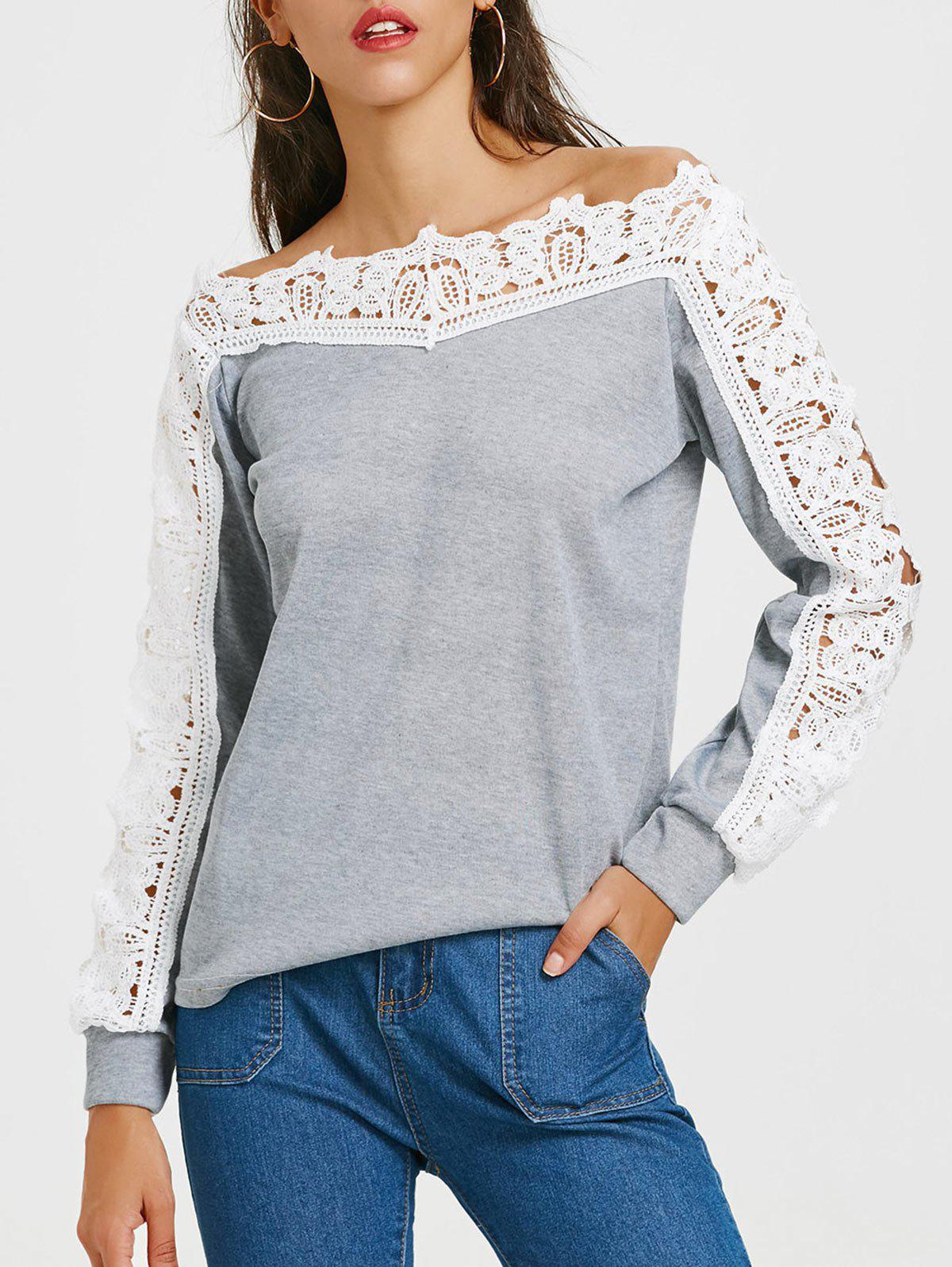 Online Openwork Lace Panel Long Sleeve T-shirt