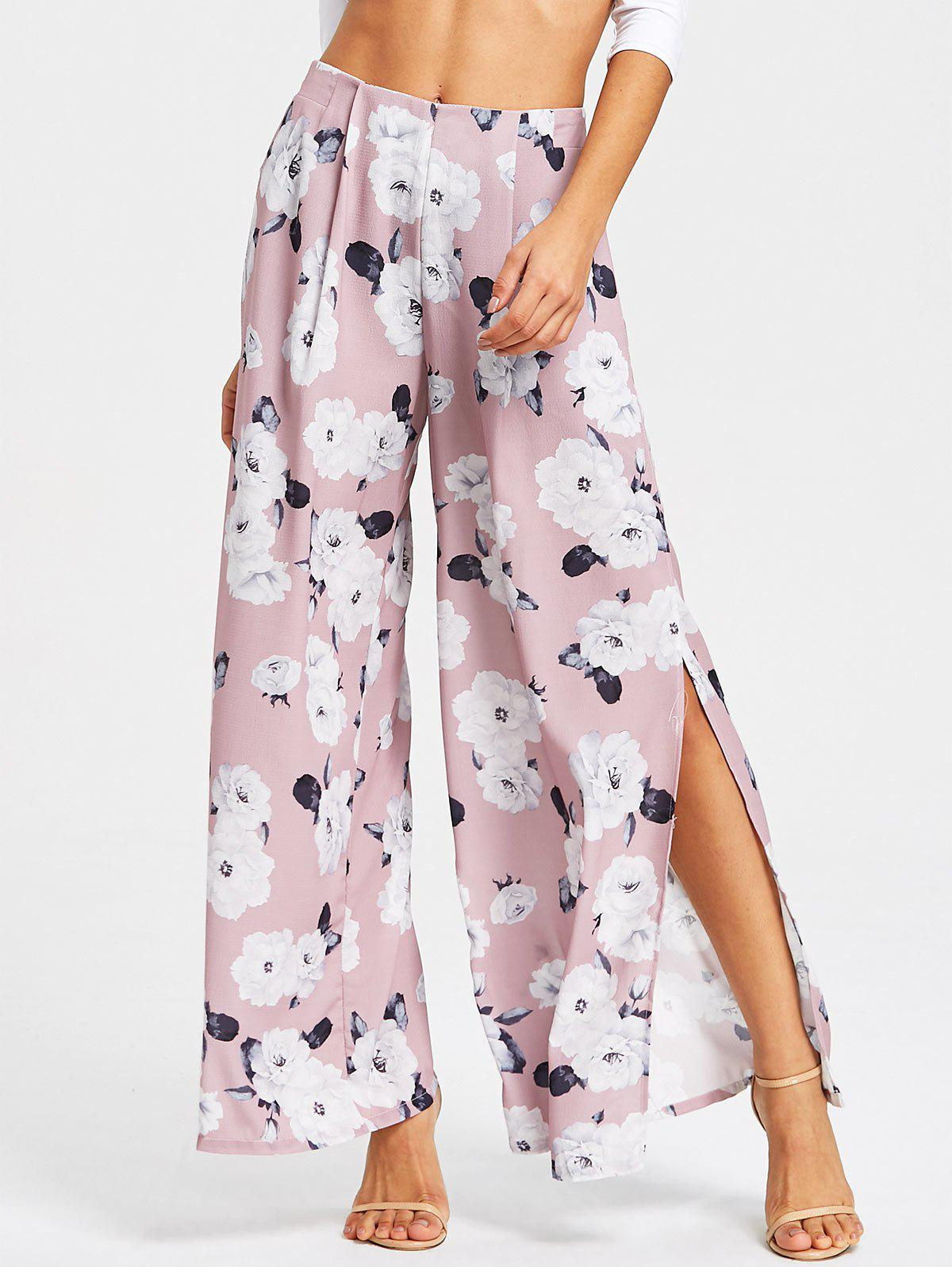 Fancy Floral Printed High Slit Wide Leg Pants