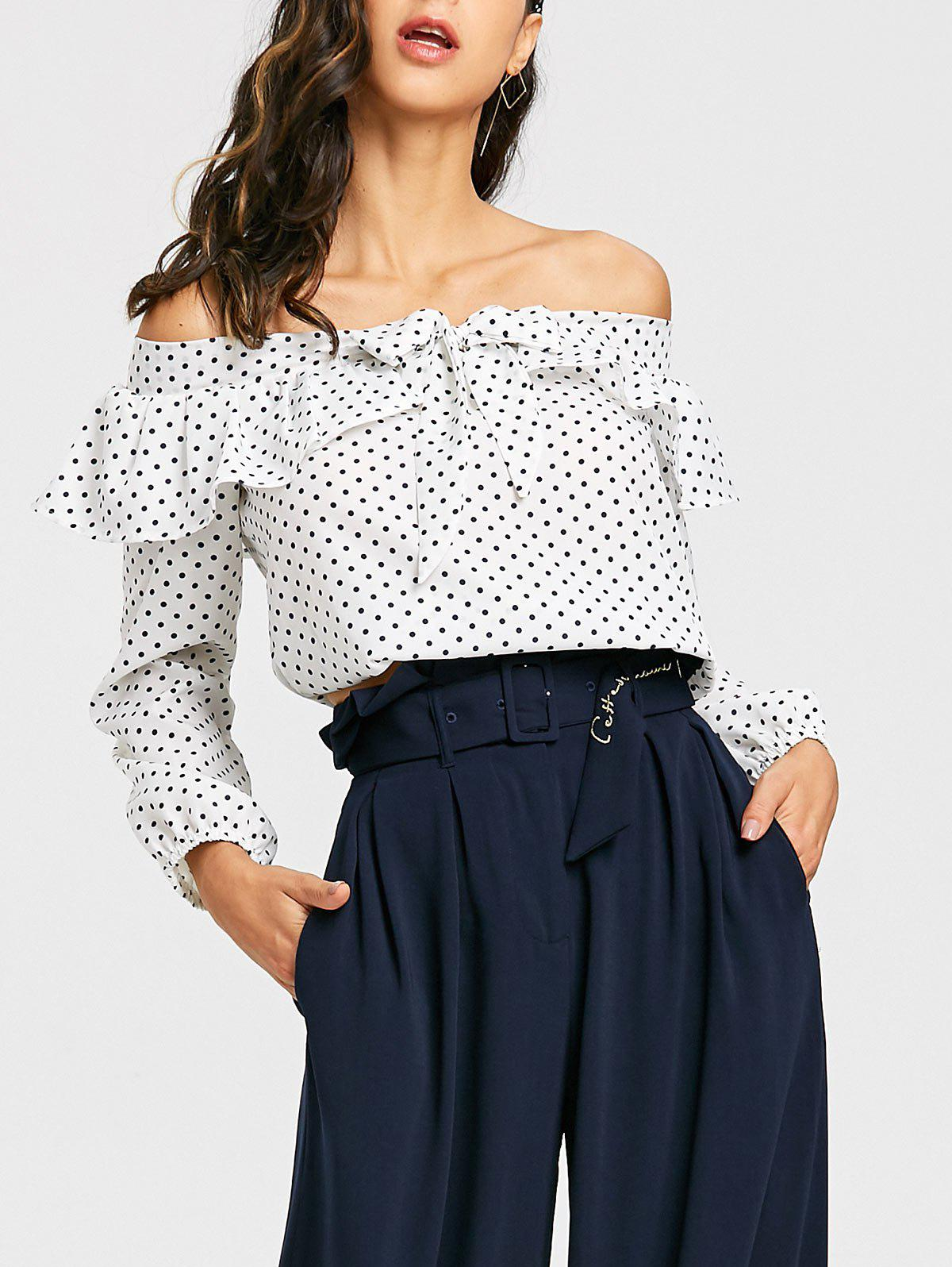 Cheap Cropped Off The Shoulder Polka Dot Blouse