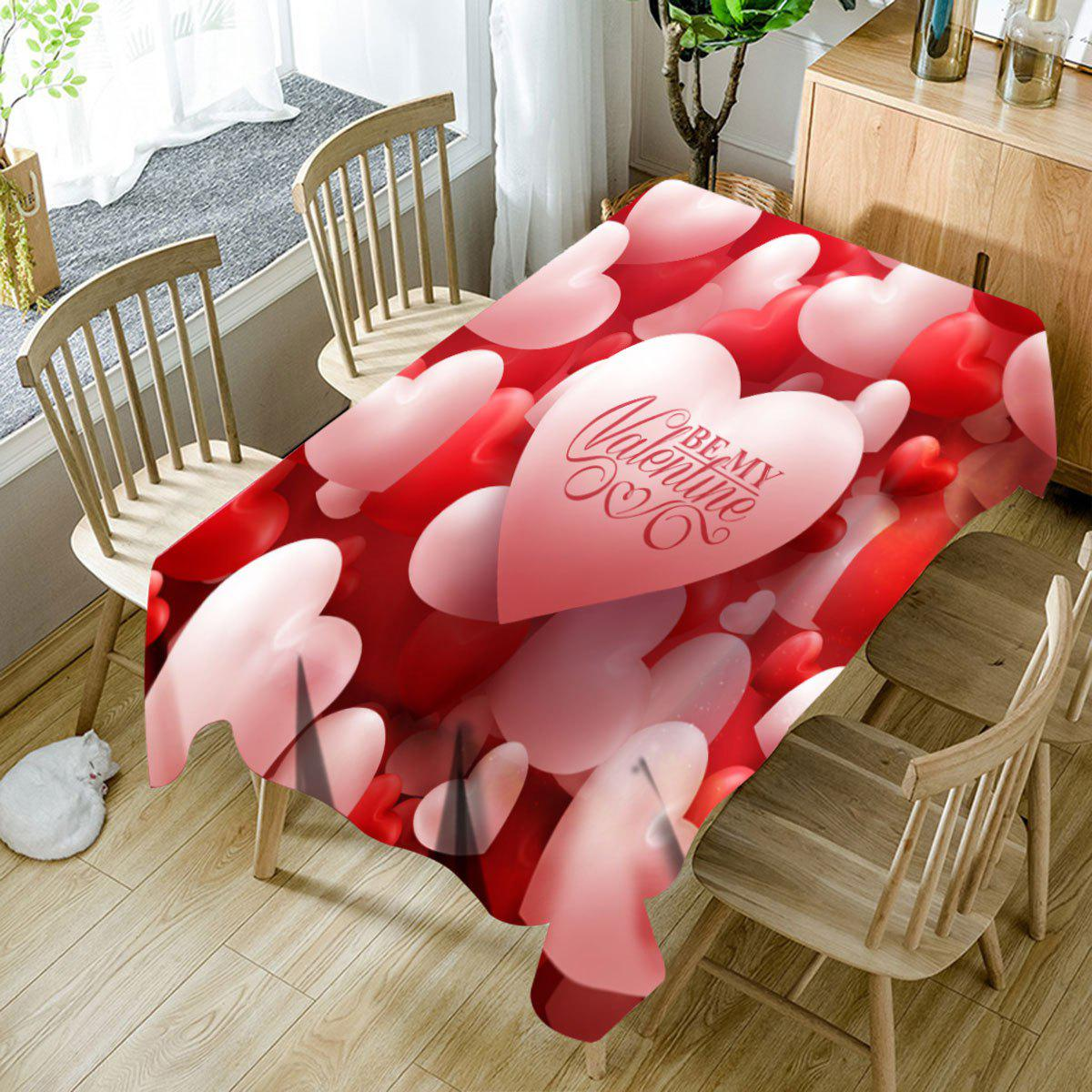 Best Be My Valentine Letter Print Waterproof Hearts Table Cloth