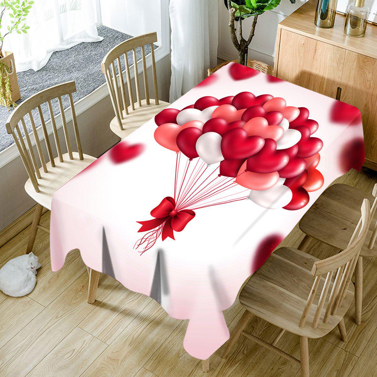 Affordable Valentine's Day Heart Balloons Print Waterproof Table Cloth