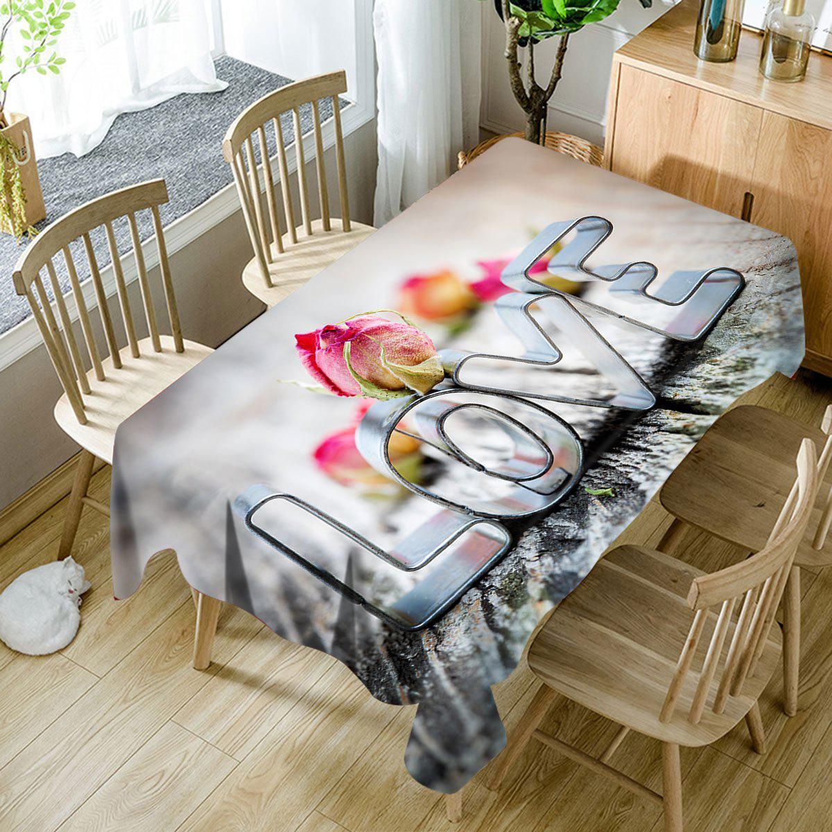 Nappe de Table Imperméable Motif Inscription Love pour la Saint Valentin