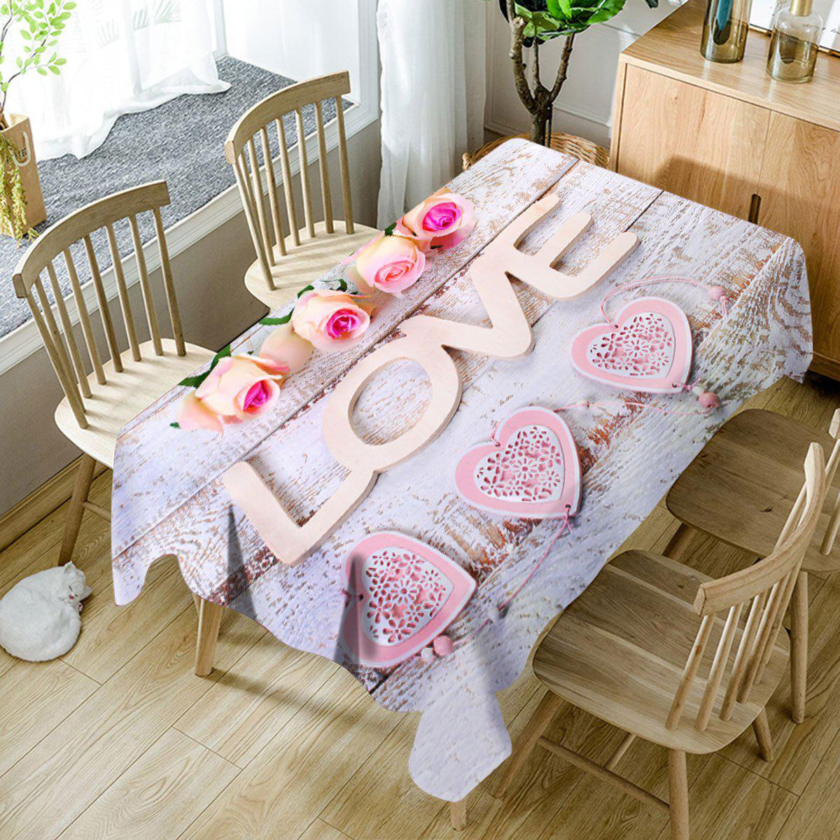 Chic Valentine's Day Roses Love Hearts Print Waterproof Table Cloth