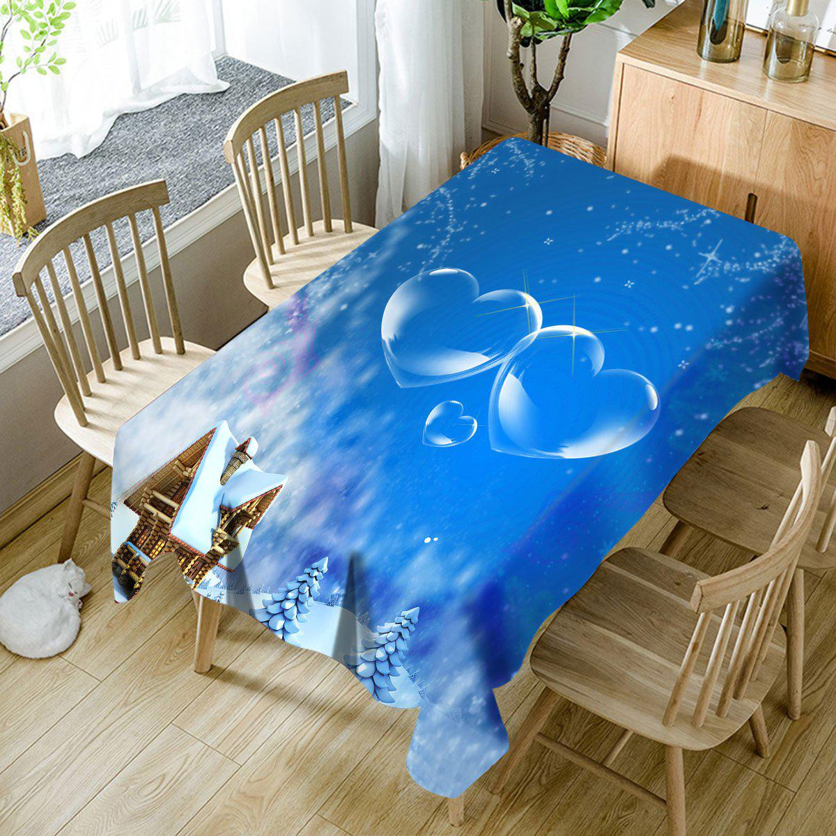 Online Snowscape Hearts Pattern Waterproof Fabric Table Cloth