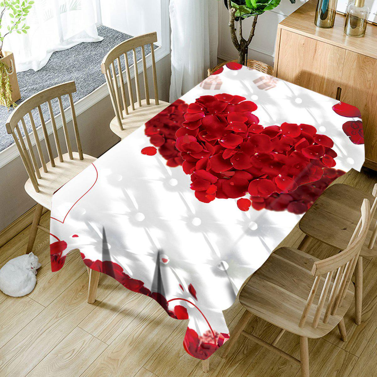 Affordable Valentine's Day Petals Double Hearts Print Waterproof Table Cloth