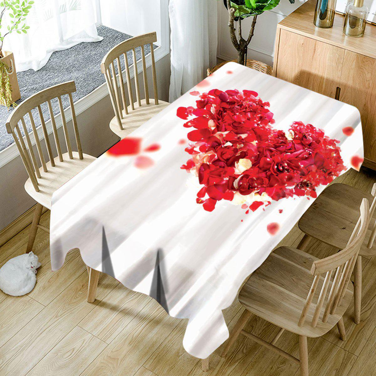 Cheap Valentine's Day Petals Heart Printed Waterproof Table Cloth